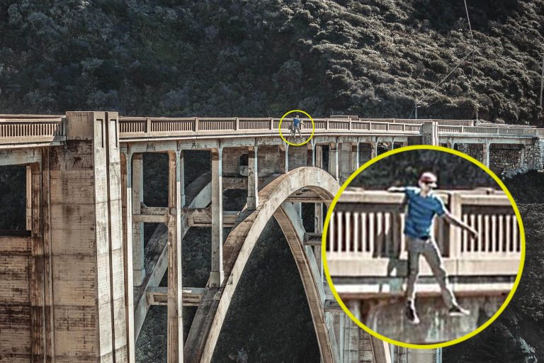 teen dangles off bridge