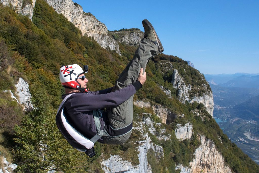 Moment base jumper flips eight times in five seconds during