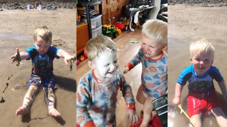 Double trouble! Giggling 'terror tot' cover twin in sudocrem – to