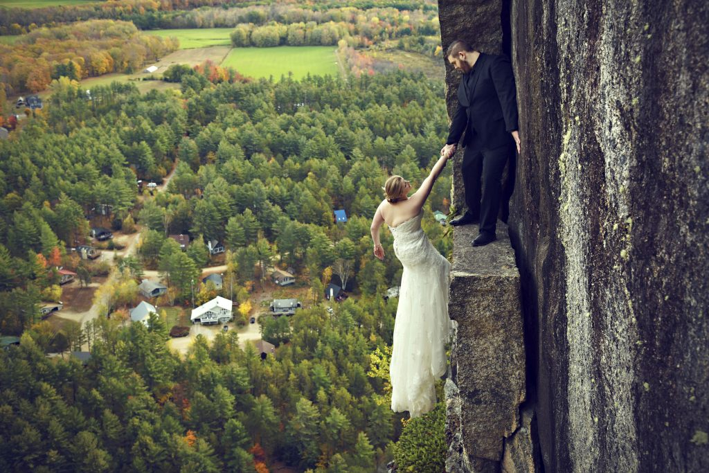 High Do Daredevil Bride Hangs 400 Feet From Cliff Face In