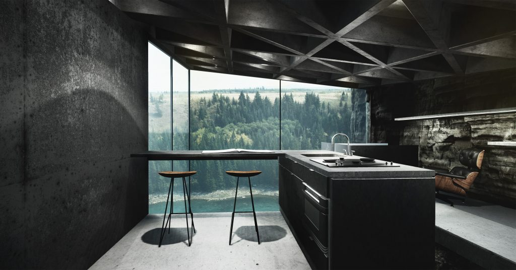 living life on the edge stunning cliff side house to be built into rocks and suspended right. Black Bedroom Furniture Sets. Home Design Ideas