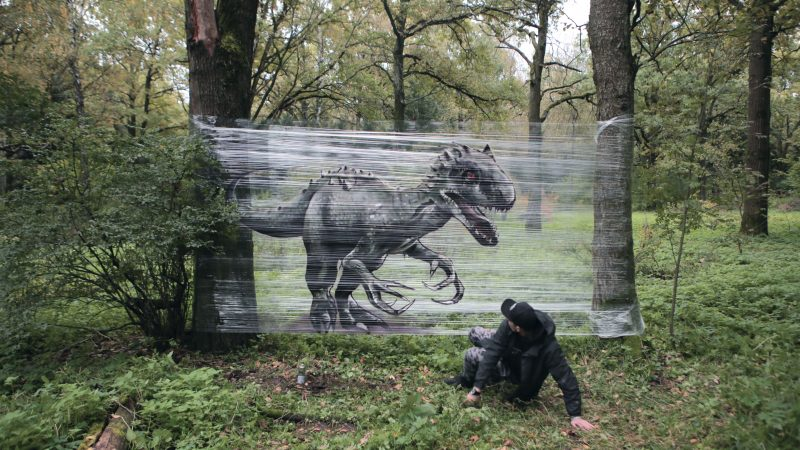 That's a wrap! Graffiti artist uses cling film to place creatures in the wild....With stunning results Image