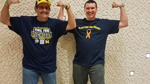 Leukemia sufferer who had to endure chemotherapy 24-hours-a-day meets bone marrow donor that saved his life during surprise meeting Image