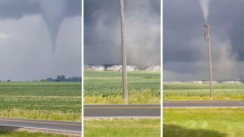 Terrifying footage shows massive tornado tearing through town ripping up power lines and destroying houses Image