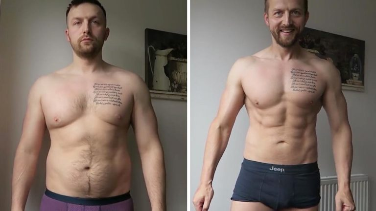 9e5e210554d75 Dad bod to dad god: Former flabby father loses four stone pushing son in  pram and is now competing in body-building competitions