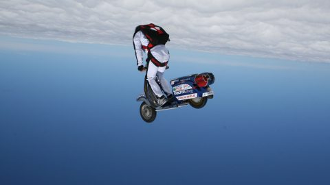 Fearless adrenaline junkie freefalls out of plane on a motor scooter, taking two years to plan and only 40 seconds to complete Image