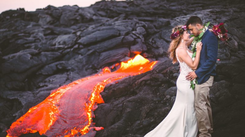 The power of love! These fearless super duos – Snapped sky walking, hanging from rocks and navigating lava streams – prove anything is easier when you do it together Image