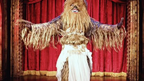 Baby got Bacca: Nerdy entertainer combines two loves to create bizarre belly dancing Wookie Image