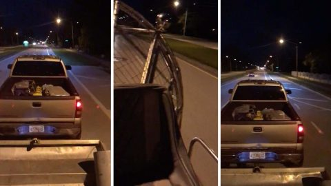 Hilarious footage shows air boat pushing broken-down truck to petrol station Image