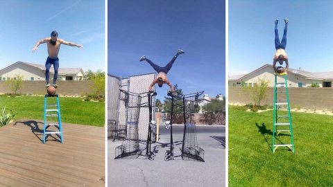 Former marine dubbed 'the balance guru' pulls off series of impressive stunts – including push ups on four stacked shopping trolleys Image