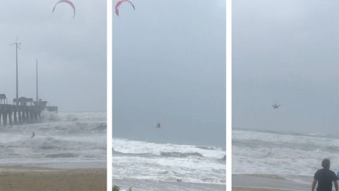 Dare devil caught kite surfing through hurricane Florence despite intense winds  Image