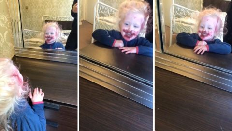 Mum stunned when daughter alone covers her whole face, hair and bed sheets in Mac lipstick while she does housework Image