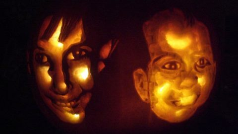 Creative dad carves kids' faces into pumpkin – and the results are amazing Image