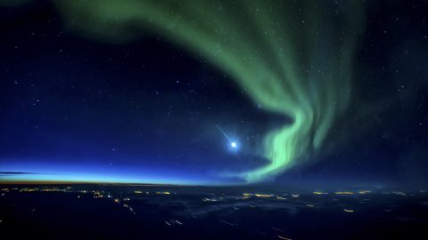 Green face of spooky witch spotted in Northern Lights Image