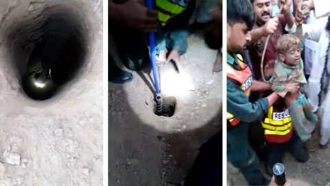 Four year old is rescued from 20ft well after being trapped for four hours Image