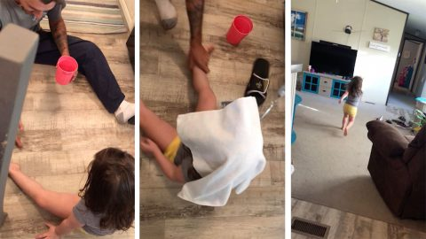 Mischievous dad's trick on unsuspecting daughter backfires – with hilariously sassy results Image