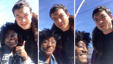Rami Malek fan gets video selfie with Ezra Miller  Image