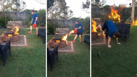 Shocking moment man accidentally sets fire to mum's garden trying to cook sausages Image