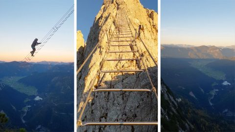Huge ladder strung between two mountains looks like the real stairway to heaven Image