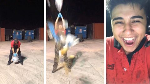 Hilarious video shows moment bin bag explodes over prankster covering him in rubbish Image