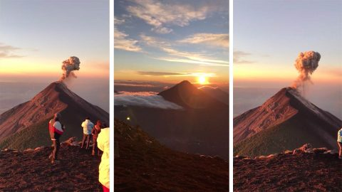 British holidaymaker shares stunning video of volcano explosion during hike Image