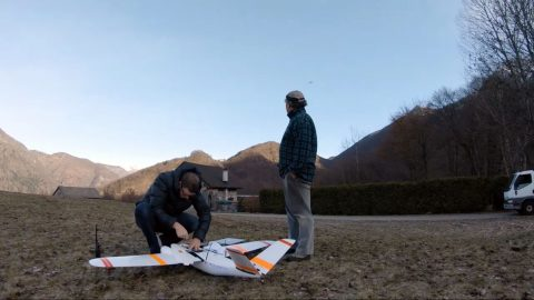 Drone captures stunning footage of mountain peaks as it flies over alps to deliver mail Image