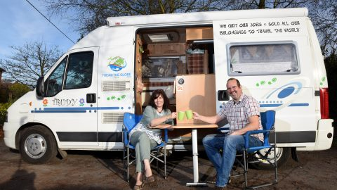 """""""We've swapped our six bed house to travel the world in camper-van"""" – Middle aged couple rent out £500k home to lead simple life after ditching jobs Image"""