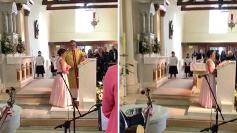 Emotional watch – teenager sings mum's favourite song as she walks down aisle Image