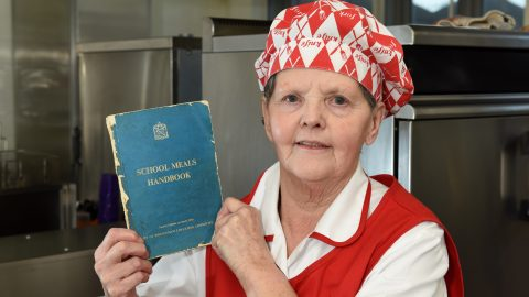 Keeping it old school – Dinner lady uses 1950's cookbooks for 45 years and claims recipes go down a storm Image