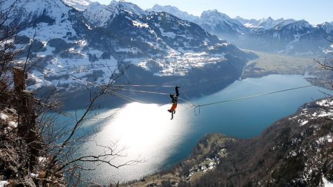 Slackliner Reveals Audacious New Spinning Stunt Never Before Caught On Camera – While 3,000ft Above Swiss Alps Image