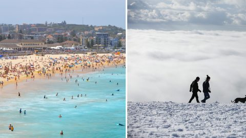 Sand vs snow: Aussies swelter on Bondi beach as Brits shiver through freezing UK snowstorms Image