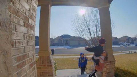 Little girl sends boy flying off porch with unintended judo move Image