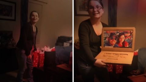 Crappy valentine's day! Girl pranked by boyfriend after laptop she received is made of cardboard Image