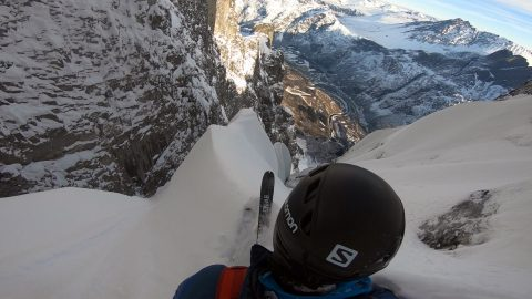 Determined Skier Becomes The First Person To Ski Down Europes Largest Vertical Rock Face In Heart-stopping Footage Image