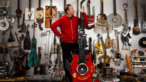 Performer Transforms Guns, Boots, Hockey Sticks, Suitcases And More Into Incredible Musical Instruments Image