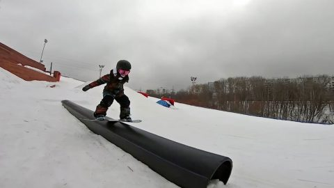 This Is Snow Laughing Matter: Five-year-old Girl Is A Skilful Snowboarder Image