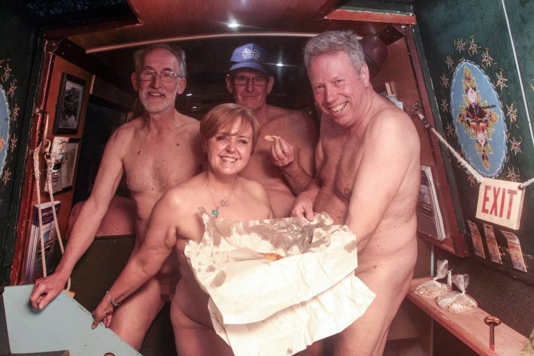 Fish And Nips  Nudists Enjoy Fish And Chip Dinner On Naked