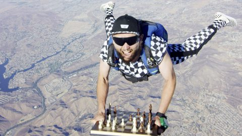Chess-nuts Floating From An Open Flyer - Incredible Images Shows Skydiving Chess Master Image