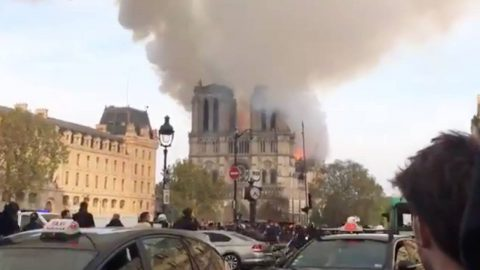 Shocking Footage Shows Moment Notre Dame Cathedral Spire Collapses As Huge Fire Rips Through Building Image