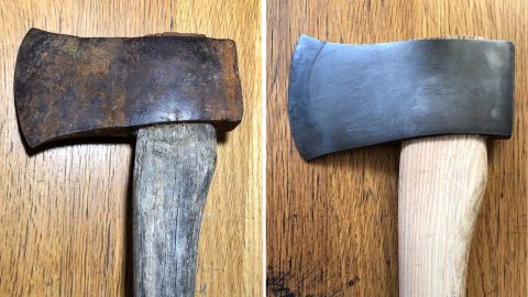 Paintstaking Video Shows Axe Being Restored From Rusty Mess Into Gleaming Wood Chopper Image