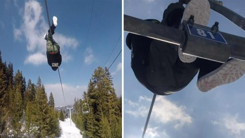 Skier Takes Unusual Route Up Snowy Mountain By Climbing Between Chair Lifts Image