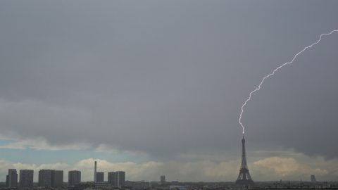 Photographer Catches Incredible Lightning Striking The Eiffel Tower On Liberation Day Image