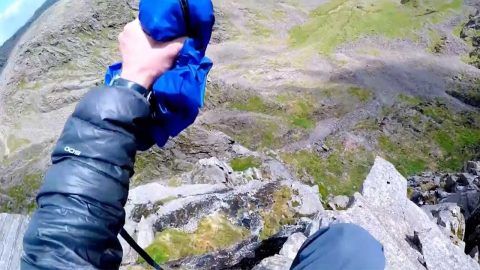 World's first ever base jump from england's highest peak captured in adrenaline-filled clip Image