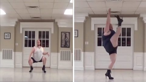 Size doesn't matter: male performer creates inspirational routines in sky-high heels to prove dancers comes in all sizes Image