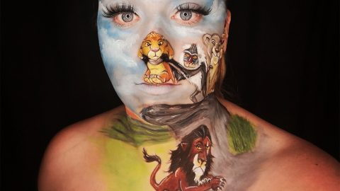 Creative Mum Spends 15 Hours Turning Her Face Into Lion King Cast Image
