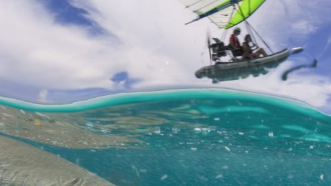 Sailing The Fly-seas - Man Uses Flying Inflatable Boat Looking For Sharks Image