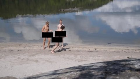 Three mates walk from Norway to Sweden with only the bare necessities even starting without clothes Image