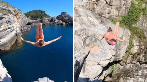 Video Shows Talented Diver Jumping From Cliffs Around The World Image