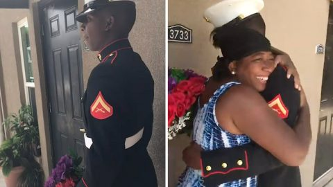 Marine Shocks Unsuspecting Mum With Surprise Visit After Over A Year Away From Home Image