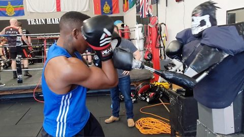 DROID MAYWEATHER! INVENTOR CREATES ROBOT TO SPAR WITH ASPIRING BOXERS Image